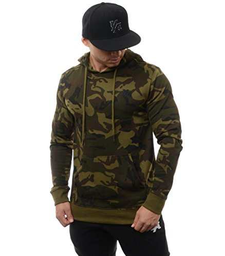 YoungLA Hoodies for Men Pullovers Sweatshirts Plain Camouflage Colors 507 Camo Green Small Camouflage Hooded Sweatshirt