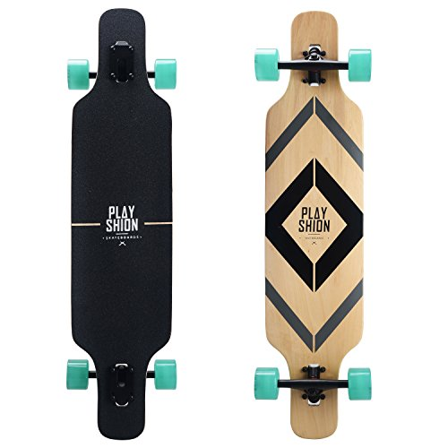 Playshion Freeride Freestyle Drop Through Longboard Skateboard Complete 39 (Longboard Skateboard Deck)