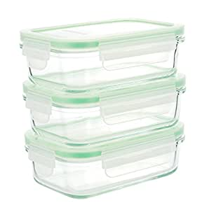 Kinetic GoGREEN Glassworks Series 6 Piece Rectangular Oven Safe Glass Food Storage Container Set 14-Ounce Each (3 Containers and 3 Lids) 01330