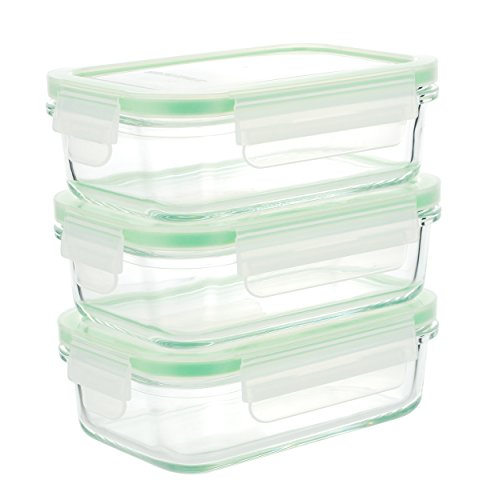 Kinetic 01330 GoGREEN Glassworks Series 6 Piece Rectangular Oven Safe Glass Food Storage Container - 14 Ounce, Rectangular (Storage Safe Food)