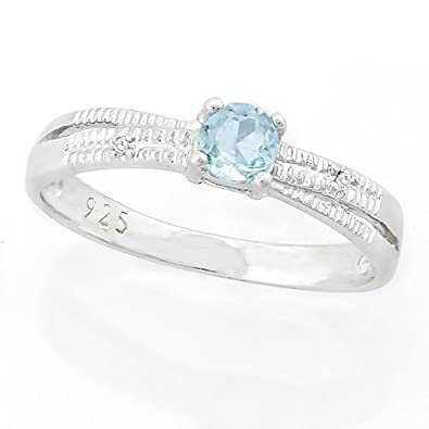 1/4 CARAT BABY SWISS BLUE TOPAZ & DIAMOND 925 STERLING SILVER RING (Free  Shipping)