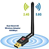 Wifi Dongle Antenna Dual Band 5GHz 600Mbps/433Mbps Wireless USB Wifi Adapter for PC Desktop Laptop Tablet, Supports Windows 10/8/7/Vista/XP/2000, Mac Os X 10.4-10.12