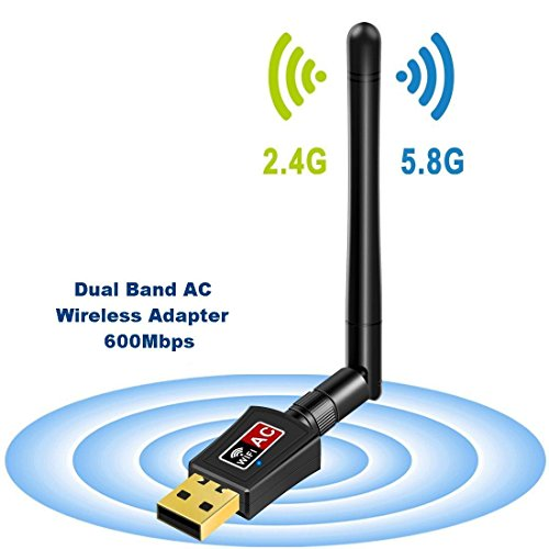 Wifi Dongle Antenna Dual Band 5GHz 600Mbps/433Mbps Wireless USB Wifi Adapter for PC Desktop Laptop Tablet, Supports Windows 10/8/7/Vista/XP/2000, Mac Os X 10.4-10.12 by USPACE