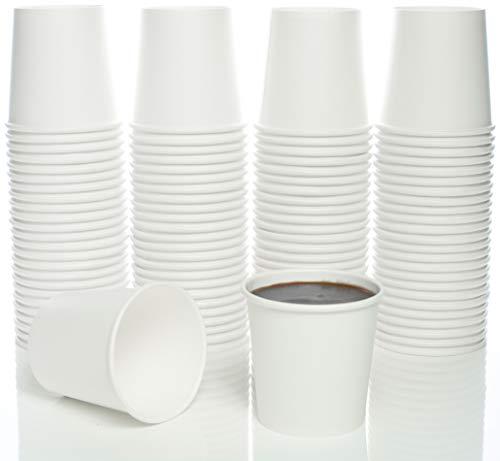 4 Oz. White Paper Hot Coffee Cup For Espresso, Nespresso, Lavazza, Sampling Cup 100 Pack ()