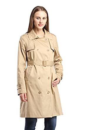 CHAREX Women's Double Breasted Long Sleeves Slim Belted Trench Coat, Small Khaki