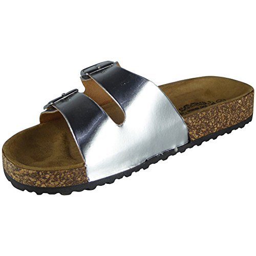Silver Ladies Strappy Buckle Comfy Sliders Flats Shoes Womens Slippers Slides 3 LoudLook 8 Size 5WAnxwOt