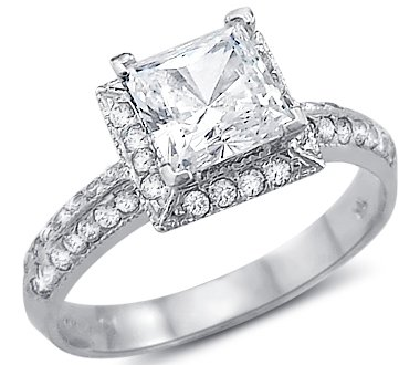 Size - 4 - Solid 14k White Gold Princess Cut CZ Cubic Zirconia Channel Engagement  Ring