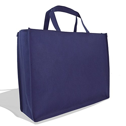 e Reuseable Shopping Grocery Tote With Zipper In Navy Blue-2 PACK ()