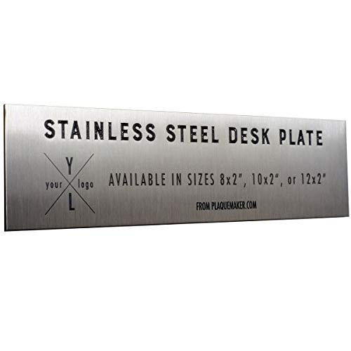 - Stainless Steel Custom Metal Desk Name Plates - 8 x 2 inches