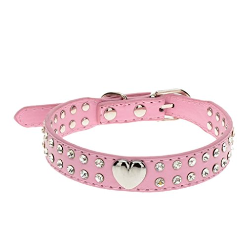 (Ninasill Clearance ! Pet Collar, Hot Cute Bling Crystal Pet Collar Puppy Choker Cat Necklace (Asian M = US S, Pink))