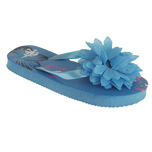 3d Flip Flop Sandal - Universal Textiles Childrens Girls Floral Hawaiian Flip-Flops with 3D Flower (3-4 US) (Blue)