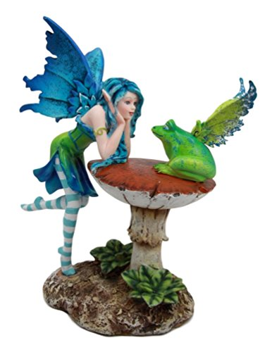Atlantic Collectibles Amy Brown Whimsical Electra Lightning Fairy With Winged Frog Gossip Figurine 7.25 H