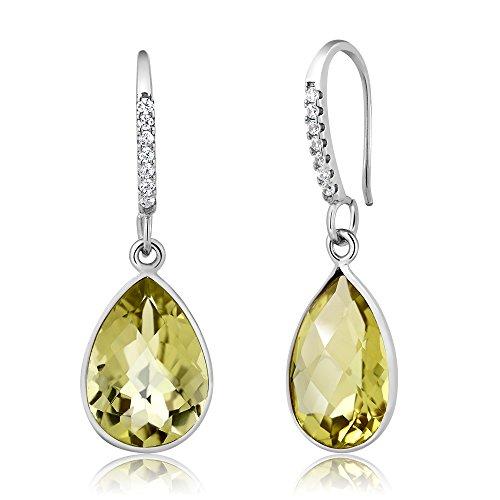 Gem Stone King 5.00 Ct Gorgeous Lemon Quartz Pear Shape 925 Silver Dangle Earrings - Quartz Lemon Drop