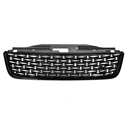 Front Bumper Grill ABS Glossy Black Hood Mesh Grille Cover Protector with Green Emblem for Land Rover Discovery 5 2017-2018 ()