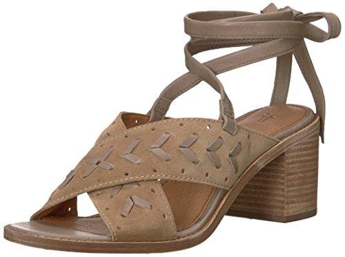 FRYE Women's Bianca Woven Perf Ankle Strap Heeled Sandal, Beige, 8 M - Ankle Heels Frye Strap