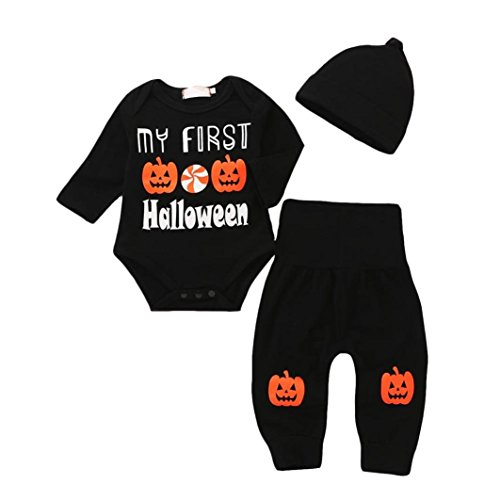 Infant Baby Girl Boy Clothes Long Sleeve My First Halloween Romper with Hat and Pants Outfits Set 3PC (6-12Months(Tag 80)) -
