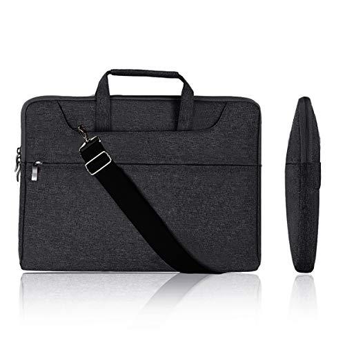 Holilife 14-15.4 inch Laptop Case with Strap Black, Portable Briefcase Multi-Functional Canvas Laptop Shoulder Bag Computer Case for Chromebook/MacBook/Ultrabook/Laptop/Tablet