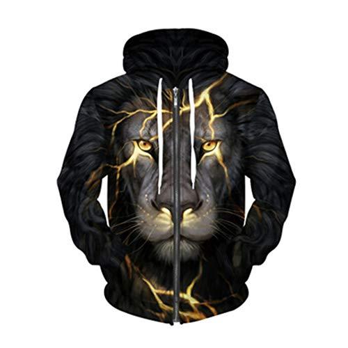 Couple 3D Sweatshirts Print Golden Lightning Lion Panda Wolf Zip Hooded Hoodies Thin Tracksuits Harajuku Gold XL
