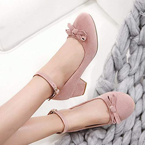 One Printemps Sweet Grande Hauts Button Simples Bow Et Pink Femme Nouveau Petite Shoes Talons Comfort En Taille Chaussures Été Travail De I6pxqwnwSd