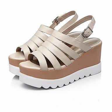 Para Zapatos Womens Cuero Creepers De FSCHOOLY Nappa Informales Almendra De Negro Almond Primavera Verano Confort Sandalias vTq5nwxa