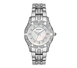 Bulova Women's Stainless Steel with Mother-of-Pearl Face and Crystal Watch