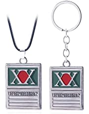haress lfslk 2PC Hunter X Hunter Keyring Necklace GON Freecss License Phantom Troupe Spider Logo Pendant Keychain Necklace