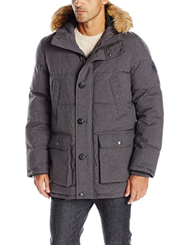 (Tommy Hilfiger Men's Arctic Cloth Full Length Quilted Snorkel with Removable Faux Fur Trimmed Hood and Ultra Loft Isulation, Heather Charcoal, M)