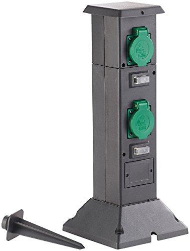 Royal Gardineer 4-fach-Steckdosen-Säule für den Garten, spritzwassergeschützt IP44