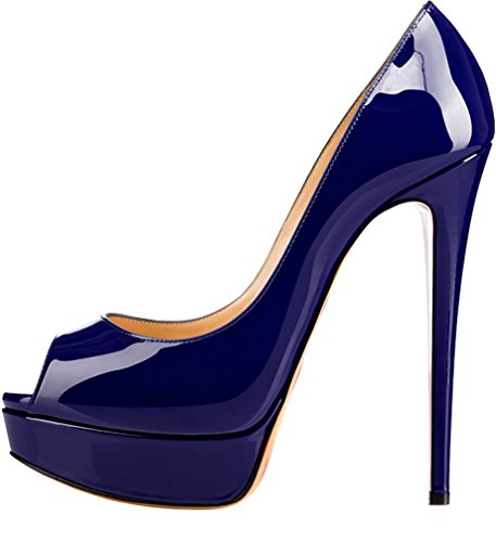 Trusify Mujer 15cm EU tamaño 34-46 Truthunder Tacón de aguja 15CM Sintético Sandalias de vestir Azul Dark