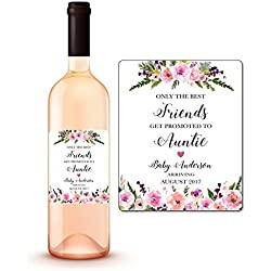 CUSTOM Pregnancy Announcement Wine Bottle Labels, Friends Get Promoted To Aunt Auntie Wine Labels, PERSONALIZED Pregnancy Reveal We're Expecting Wine Labels Baby Announcement WEATHERPROOF A140-10FW