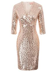 Vintage 50s Rose Gold Sequin Pencil Dress With V Neck