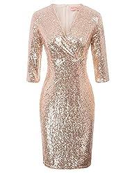 Vintage 50s Rose Gold Sequin Pencil Dress With V Neck