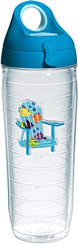 Chair Adirondack Tumbler - Tervis 1232026 Tropical Fish Adirondack Chair Tumbler with Emblem and Turquoise Lid 24oz Water Bottle, Clear