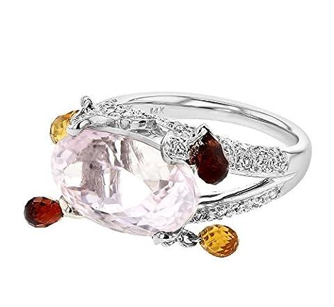 11.49CTW Ladies Pink Kunzite & Green Garnet Pave set Diamond Ring in 14K White Gold (Kunzite Rings In White Gold)