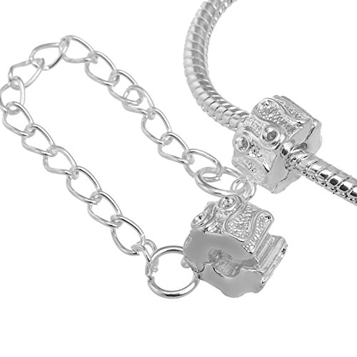 RUBYCA 5pcs White Silver Plated Clip Lock Stopper Chain Clasp Beads fit European Charm Bracelet (Beaded 3 Hole Link)