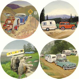 Vintage Trailers Coaster Set made our CampingForFoodies hand-selected list of 100+ Camping Stocking Stuffers For RV And Tent Campers!
