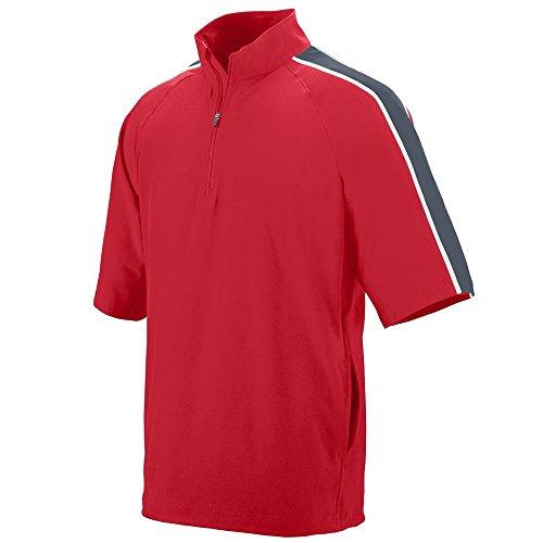 (Augusta Sportswear 3788 Men's Quantum Short Sleeve Wind Shirt, X-Large, Red/Graphite/White)