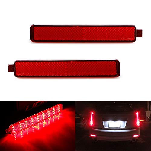 (iJDMTOY Red Lens 54-SMD LED Bumper Reflector Lights For 07-13 Cadillac CTS Sedan 07-16 GMC Acadia, 08-12 Buick Enclave, 05-09 Chevy Equinox, Function as Tail, Brake & Rear Fog Lamps)