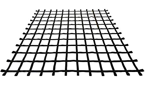 FONG 10' X 10' Climbing Cargo Net Black Heavy Duty - Indoor Climbing Net for Kids - Outdoor Play Sets, Jungle Gyms, Obstacle Courses - Both for Kids and Adults