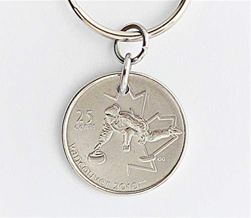 (2010 Vancouver Olympic Curling Canadian Commemorative Coin Keychain, Canada Key Ring )