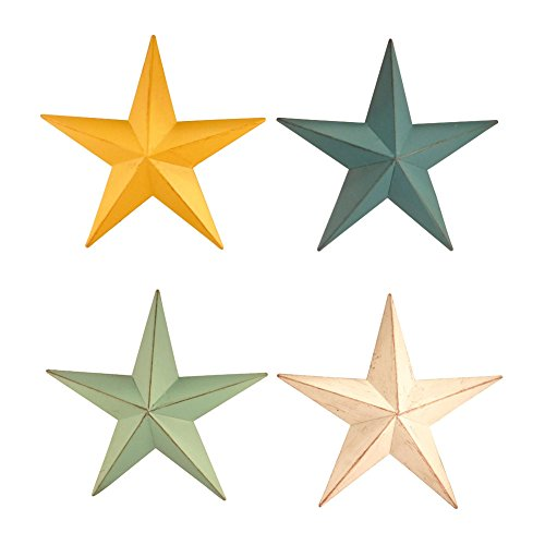 Rustic Western Metal Star Wall Decor, Set of 4