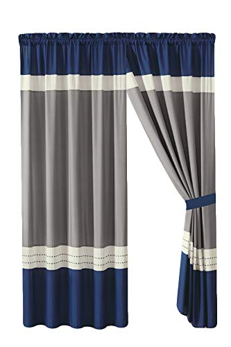- HGS 4-Pc Liam Stripe Embroidery Curtain Set Navy Blue Ivory Gray Valance Drape Sheer Liner