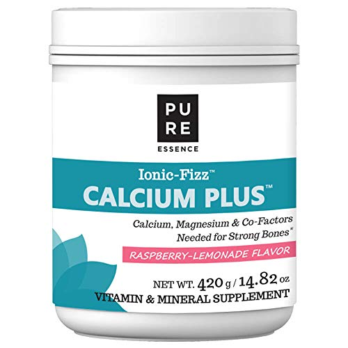 (Pure Essence Labs Ionic Fizz Calcium Plus – Perfect Calcium/Magnesium Ratio With Every Co-Factor Needed For Strong Bones - Raspberry Lemonade - 420 Grams)
