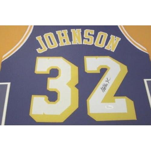 best service 9ad5b 8efce Autographed Magic Johnson Jersey - Framed Matted - JSA ...