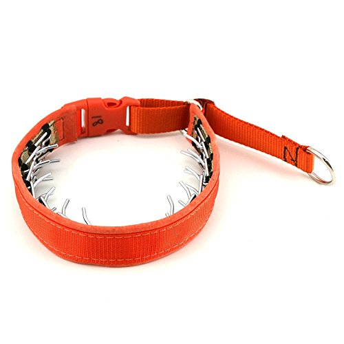 1'' wide Keeper Collar Hidden Prong with snap - Orange (15'') by Keeper