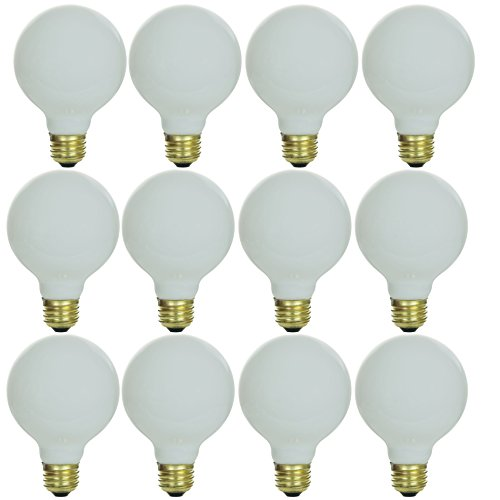 Sunlite 40G25/WH/12PK 40W Incandescent G25 Globe Light Bulb with Medium (E26) Base (12 Pack), White