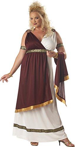 California Costumes Women's Plus-Size Roman Empress Plus, White/Burgundy, 1XL (16-18)