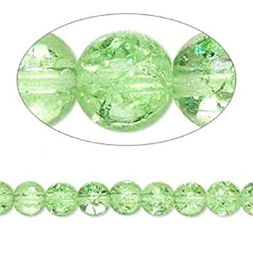 1 Strand Sea Green Crackle Glass 5-6mm Round Beads *