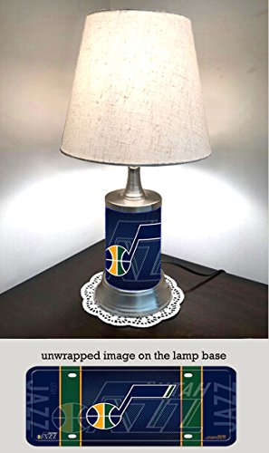 (Jazz Table Lamp with Shade, Your Favorite Team Plate Rolled in on The lamp Base, Utah J)