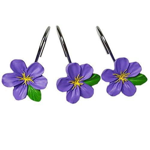 Home Chic Yang HCY 12Pcs Peach Blossom Shower Curtain Hooks Bath Decorative Hooks for Bathroom (Purple)